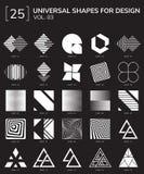 Geometric Shapes Logo. Set 25 Universal Geometric Shapes For Design Black And White Color Stock Photo