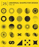 Geometric Shapes Logo. Set 25 Universal Geometric Shapes For Design Yellow And Black Stock Images