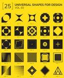 Geometric Shapes Logo. Set 25 Universal Geometric Shapes For Design Yellow And Black Stock Photos