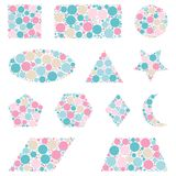 Geometric shapes made from dots isolated on white.  vector illustration