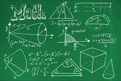 Composite image of geometric shapes with math text Stock Image