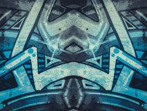 Geometric shapes painted on an old concrete wall Stock Photo