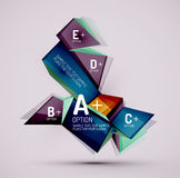 Geometric shapes with sample text. Abstract. 3d geometric shapes with sample text. Abstract template with place for text or infographic options. Triangles Royalty Free Stock Image