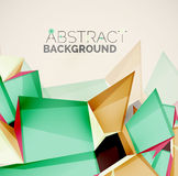 Geometric shapes with sample text. Abstract. 3d geometric shapes with sample text. Abstract template with place for text or infographic options. Triangles Stock Image