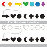 Geometric shapes set. Find correct shadow. Stock Photography