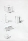 Geometric shapes sketch. Different geometric shapes with shadows, drawn by hand royalty free stock image