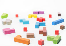 Geometric shapes, toy wooden blocks. Logical thinking Royalty Free Stock Photography