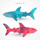 Geometric sharks. Vector Stock Image