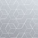 Geometric silver 3D cubes seamless pattern with glitter texture of abstract line mesh on white background. Vector silver glitterin. G ornament for woven textile stock illustration