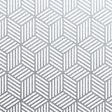 Geometric silver 3D cubes seamless pattern with glitter texture of abstract woven lines on white background. Vector silver glitter. Ing ornament for tile or royalty free illustration