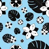 Geometric Simple  Floral Pattern. Geometric Pastel Blue and Black Simple Floral Seamless Repeating Pattern royalty free illustration