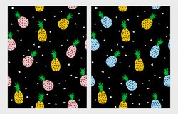 Pineapple Vector Pattern. Black Backgound. Cute Infantile Abtstract Design. vector illustration