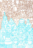 Geometric sketches drawing many buildings Royalty Free Stock Images