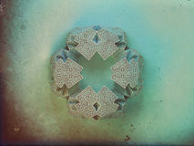 Geometric snowflake background. Christmas 3D geometric symmetry ornamental snowflake stock illustration