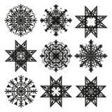 Geometric snowflakes. Geometric christmas snowflakes illustration stock illustration