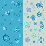 Geometric snowflakes winter pattern with various falling snowflakes  Seamless vector texture. Wallpaper design. Editable Royalty Free Stock Photos