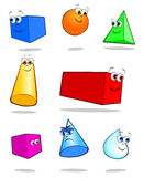 Geometric solids. Illustration vector depicting colorful geometric solids with cheerful faces funny Stock Images
