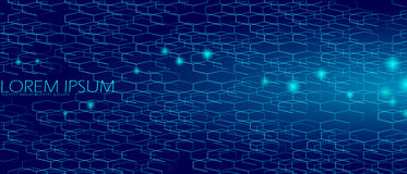 Geometric space hexagonal dark blue abstract background. Sea depth night sky concept. Strict business style gradient honeycomb mes Royalty Free Stock Image