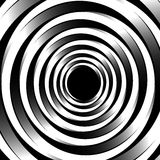 Geometric spiral pattern with concentric circles, rings. Abstrac. T monochrome illustration. - Royalty free vector illustration stock illustration