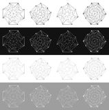 Geometric spirals. Rotating abstract monochrome element set Royalty Free Stock Image