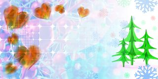 Geometric square abstract background with christmas tree, hearts, stars and snowflakes. 3d illustration with copyspace.  royalty free illustration