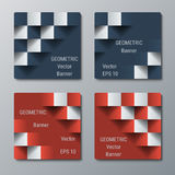 Geometric square banners with the 3D effect for business website. Four template for the advertisement banner royalty free illustration