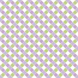 Geometric square gingham pattern in greens and purple. stock photography
