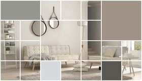 Geometric square mosaic graphic effect with copy space for text, scandinavian living room, concept interior. Design royalty free stock photography