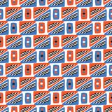 Geometric Squares Seamless Vector Pattern Orange and Blue. Geometric Squares Seamless Vector Pattern, Drawn Stylized Graphic Illustration for On Trend Fashion royalty free illustration
