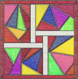 Geometric stained glass window panel Stock Photo