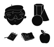 Geometric still life, a self-portrait of the artist, a notebook with drawings, a box of colored pencils.Artist and. Drawing set collection icons in black style Stock Image
