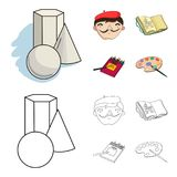 Geometric still life, a self-portrait of the artist, a notebook with drawings, a box of colored pencils.Artist and. Drawing set collection icons in cartoon Royalty Free Stock Photos