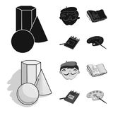 Geometric still life, a self-portrait of the artist, a notebook with drawings, a box of colored pencils.Artist and. Drawing set collection icons in black Stock Image
