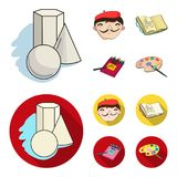 Geometric still life, a self-portrait of the artist, a notebook with drawings, a box of colored pencils.Artist and. Drawing set collection icons in cartoon,flat Royalty Free Stock Images