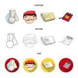 Geometric still life, a self-portrait of the artist, a notebook with drawings, a box of colored pencils.Artist and. Drawing set collection icons in cartoon Stock Photos