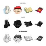 Geometric still life, a self-portrait of the artist, a notebook with drawings, a box of colored pencils.Artist and. Drawing set collection icons in cartoon Stock Images