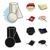 Geometric still life, a self-portrait of the artist, a notebook with drawings, a box of colored pencils.Artist and. Drawing set collection icons in cartoon Royalty Free Stock Photography