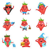 Geometric Strawberry Character In Funny Situations Royalty Free Stock Images