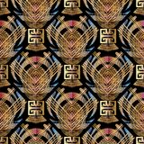 Geometric striped 3d meander seamless pattern. Greek key meander vector seamless pattern. Modern striped geometric colorful background. 3d wallpaper. Abstract Royalty Free Stock Photo