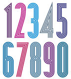 Geometric striped numbers. Stock Photos