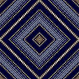 Geometric striped rhombus seamless pattern. Vector abstract blue. Background wallpaper with gold 3d radial half tone rhombus, frames, dots, shapes, dotted lines Stock Image