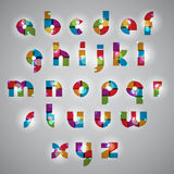 Geometric style letters alphabet with lights effects. Stock Image