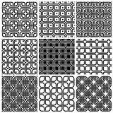 Geometric style seamless patterns set. Stock Images