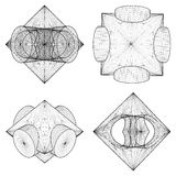 Geometric Subtraction Of Octahedron And Two Cylinder Vector Stock Images