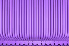 Geometric surfaces formed by extruded heart shape, love concept - beautiful purple 3D Illustration of abstract background vector illustration