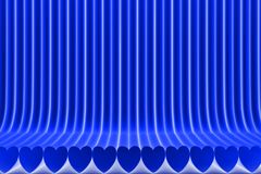 Geometric surfaces formed with extruded heart shape, 14th february concept - modern blue 3D Illustration of abstract background royalty free illustration