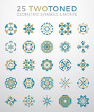25 Geometric Symbols & Motifs Set. Geometric symbols and motifs that can be used for both business and personal purposes. Use as decoration, patterns, design Stock Image