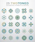 25 Geometric Symbols & Motifs Set Stock Image