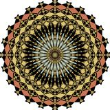 Geometric symmetric colorful rosette in art deco style with fragment elements. In ancient nostalgic colors Stock Photography