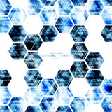 Geometric technological digital blue hexagon abstract background Stock Photo
